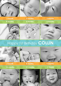 Green and Blue 1st Birthday Collage