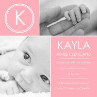 Baby Girl Modern Announcement Monogram