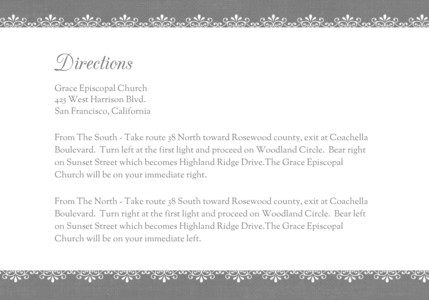 White Damask - Directions