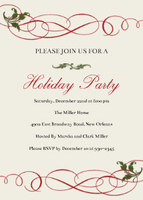 Red Flourish Holiday Invitation
