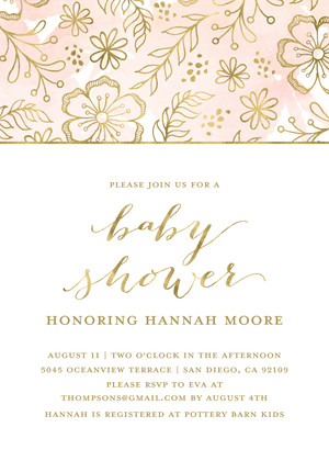 Gold Floral Invitation