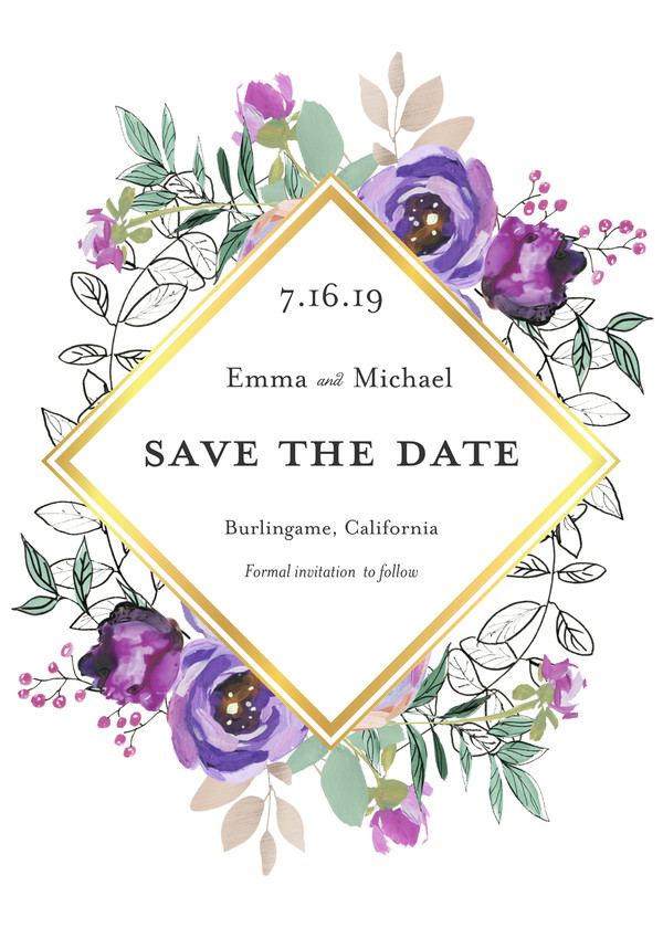 Save the Date Cards - Foil Diamond Floral by Mixbook