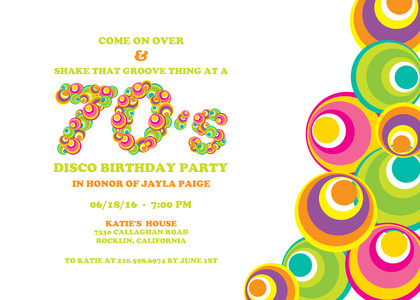 birthday party invitations 70 s party by mixbook